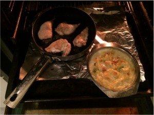 Kartoffel Lauch Gratin und Huhn
