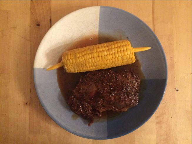 Rindersteak mit Mais