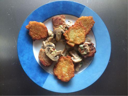 Schweinefilet mit Champignons und Katoffelpuffer