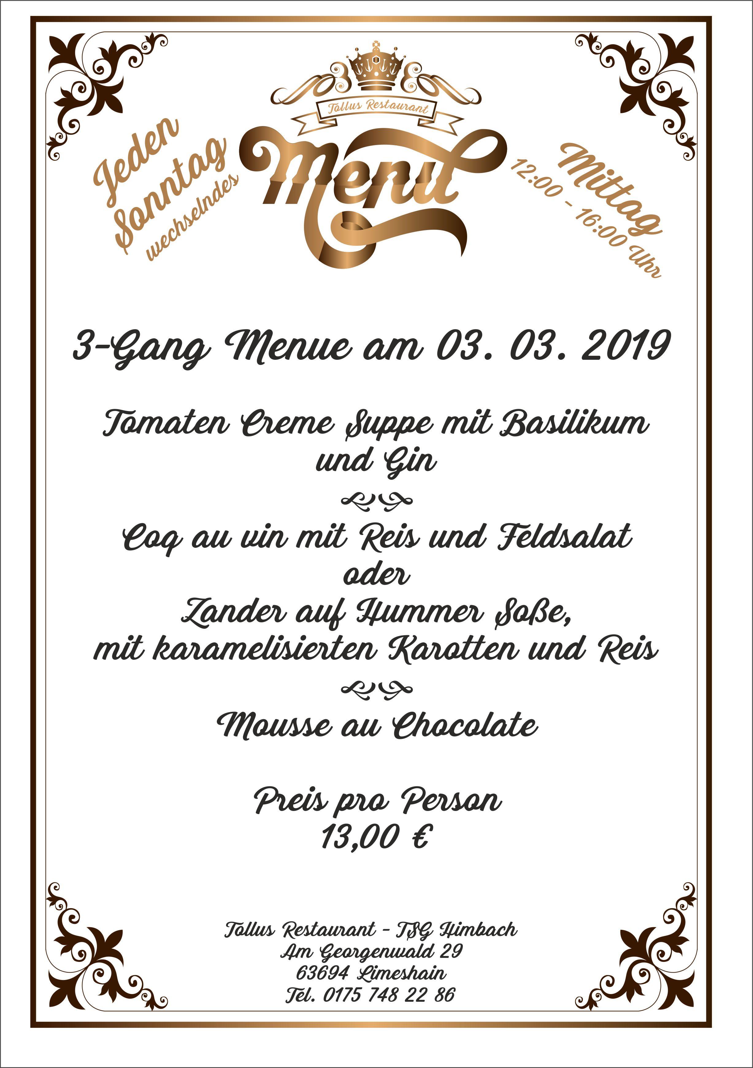 Sonntags Mittags Menue 03. 03. 2019