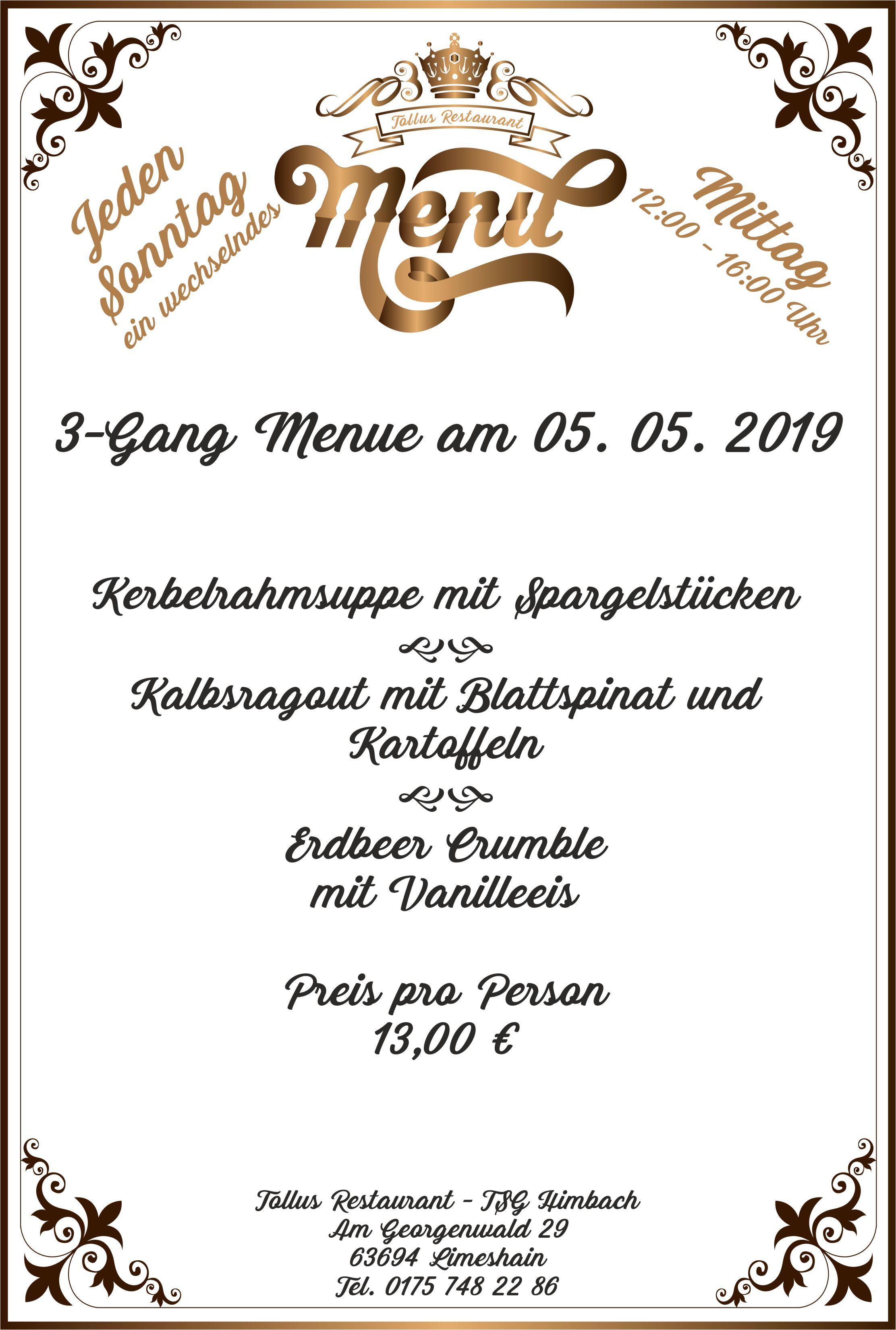 Sonntags Mittags Menue 05. 05. 2019