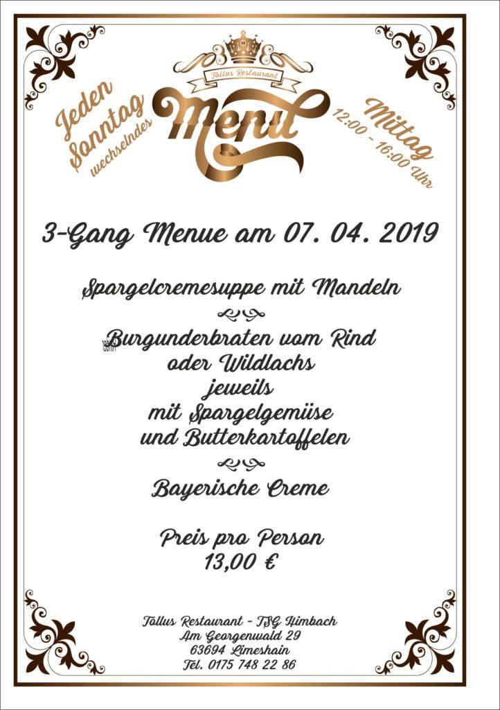 Sonntags Mittags Menue 07 .04. 2019