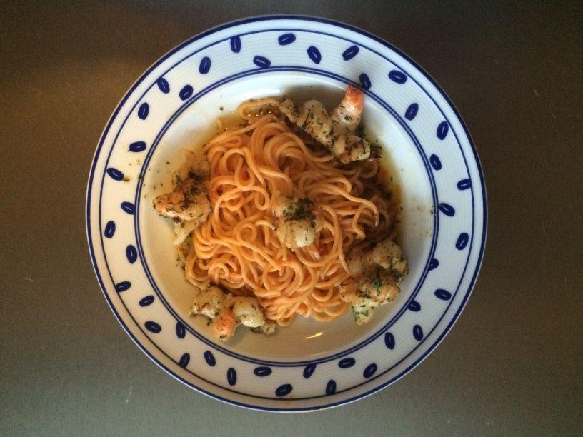 Teller Scampi mit Spagetti