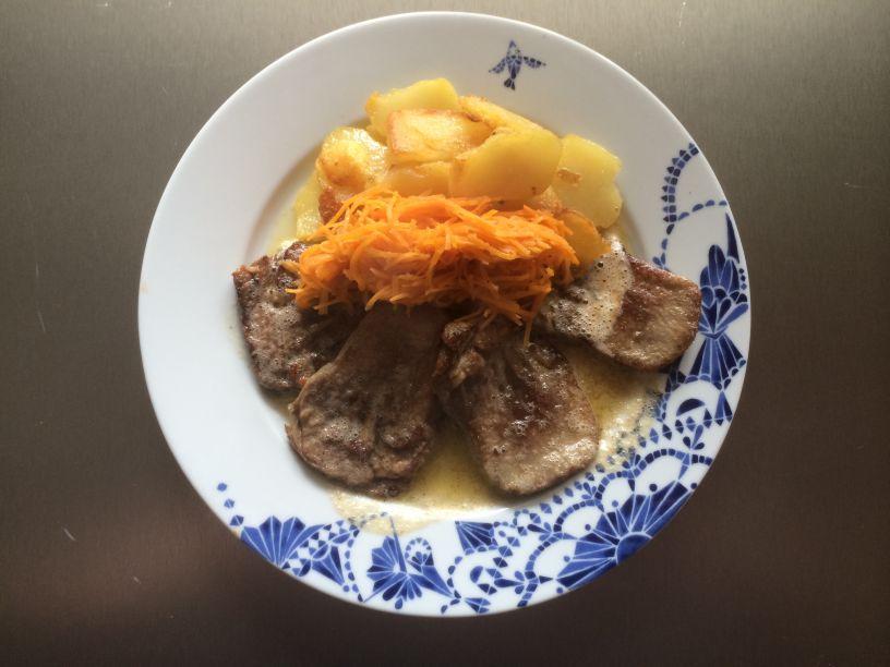 Teller Zunge Kartoffeln