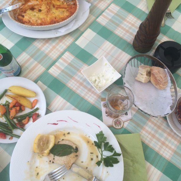 Teller essen beim Italiener